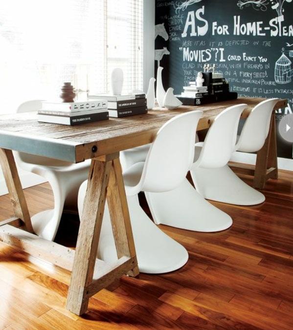 panton chair weiß designer stühle esszimmer möbel holztisch