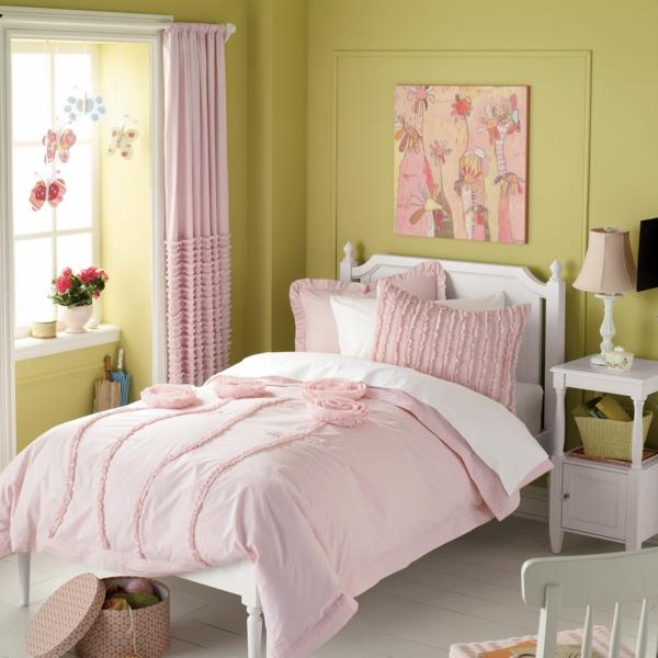 rosa gardinen kinderzimmer mädchen olivgrün wandgestaltung