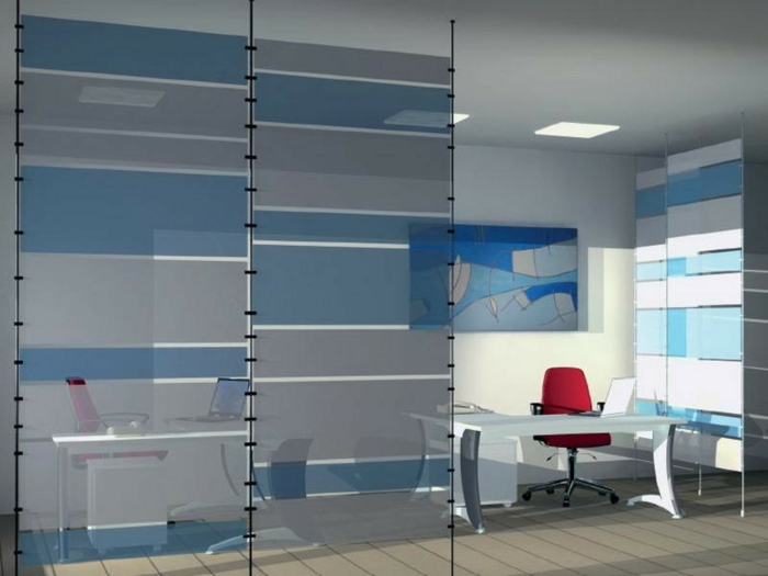 raumtrenner ideen raumteiler vorhang raumteiler regal weisse deko wand blau