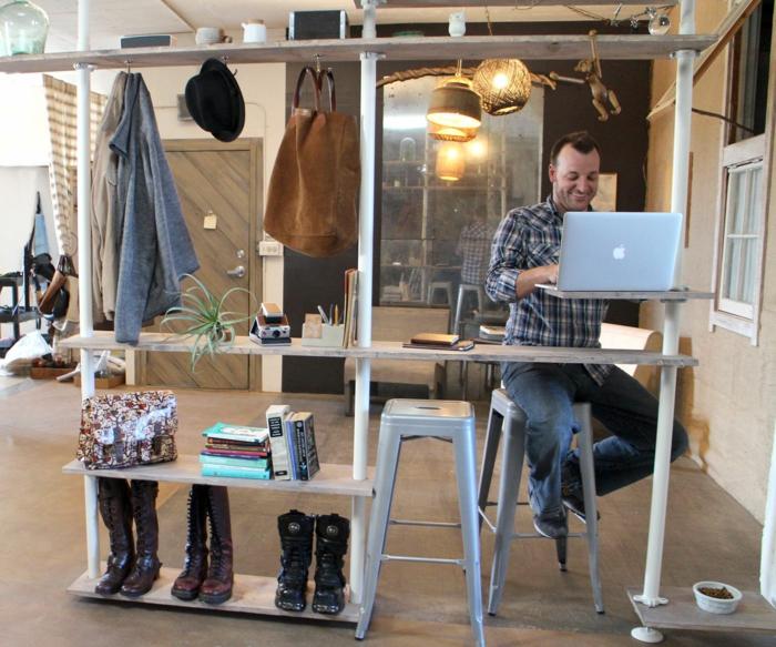 raumtrenner ideen raumteiler vorhang raumteiler regal weisse deko wand designer