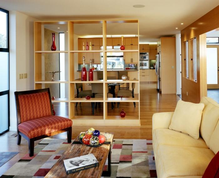 raumtrenner ideen raumteiler vorhang raumteiler regal weisse deko wand helles holz - Raumteiler Ideen