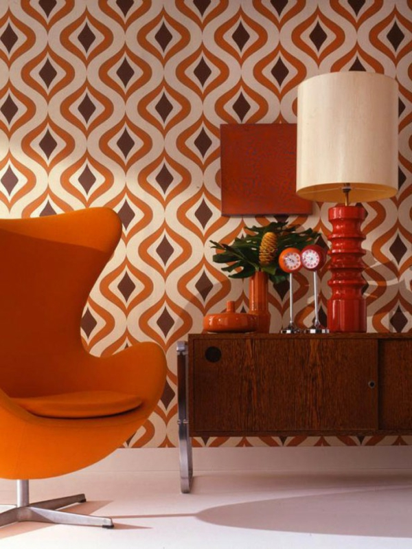 Retro Tapeten Egg Chair Orange Organische Muster