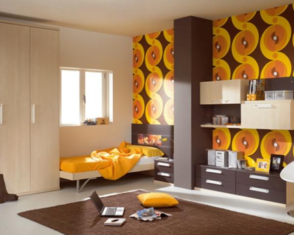 Retro Tapete Orange Braun : retro tapeten geschwungene formen gelb orange