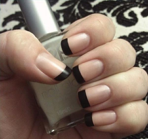 richtig nägel lackieren french schwarz nagellack design