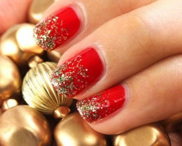 rote Gelnägel Weihnachten fingernägel bilder  festlich
