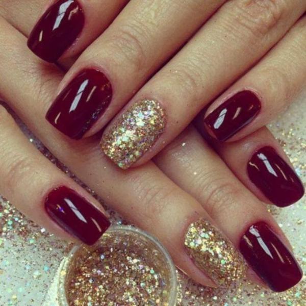 rote Gelnägel zu Weihnachten rote fingernägel bilder golden