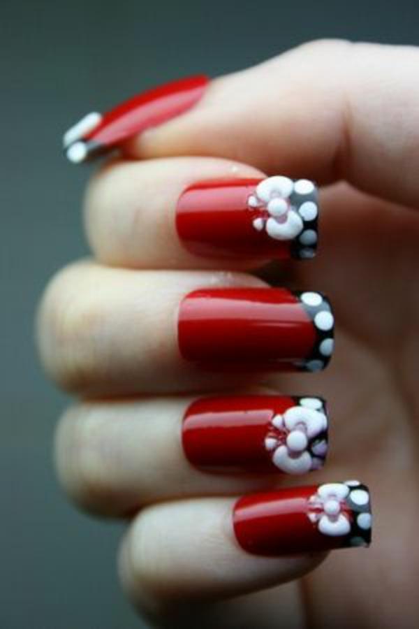 Weihnachten rote fingernägel rote Gelnägel schleife