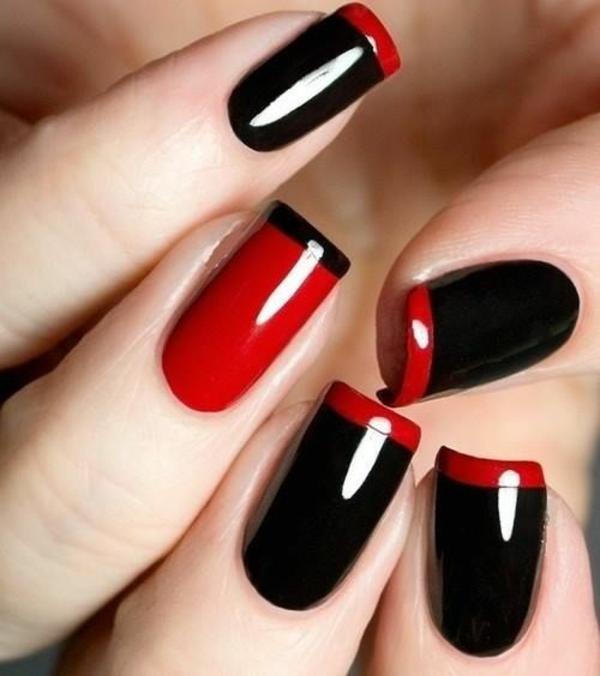 Gelnägel zu Weihnachten rote fingernägel bilder schwarz