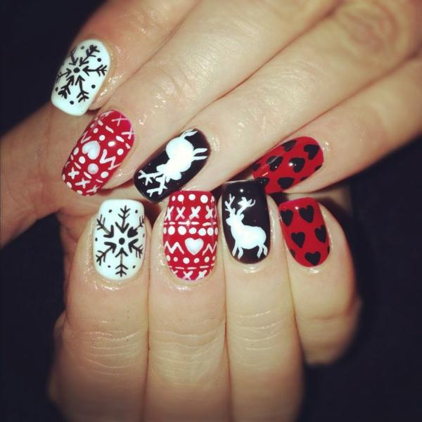 rote Gelnägel zu Weihnachten rote fingernägel bilder symbole
