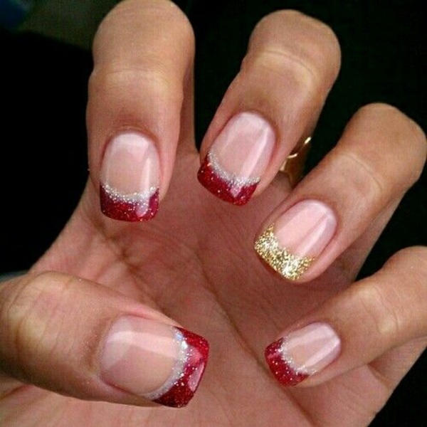 Acrylic Nails Painted With Shellac