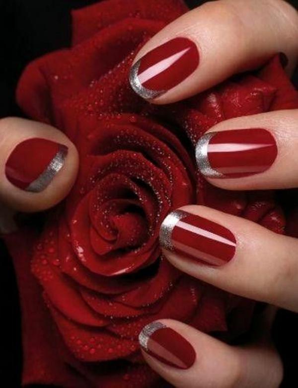 rote Gelnägel zu Weihnachten rote fingernägel lackiert rose