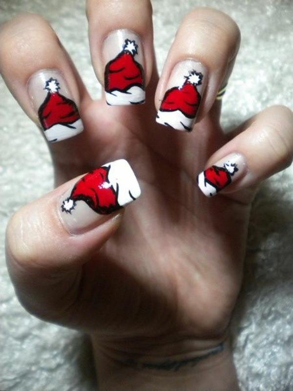 rote Gelnägel zu Weihnachten rote fingernägel lackiert wintermützen