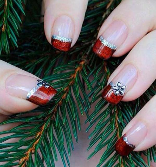 rote Gelnägel zu Weihnachten rote fingernägel lackiert zweige tanne