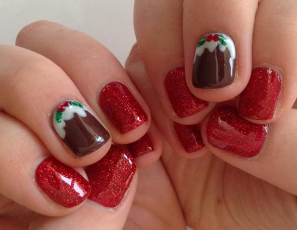 rote Gelnägel zu Weihnachten rote fingernägel motive braun