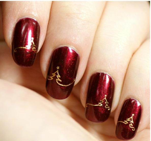 rote Gelnägel zu Weihnachten rote fingernägel motive golden weihnachtsbaum