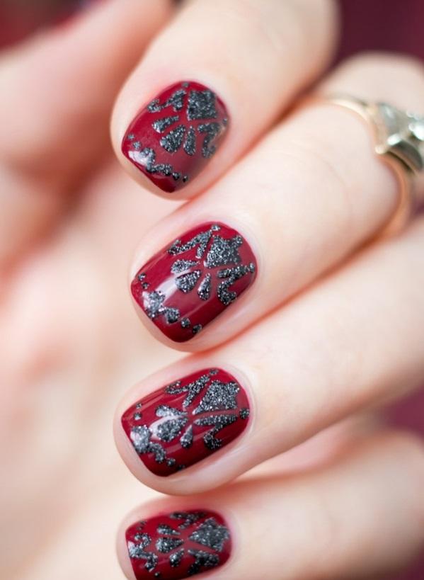 rote Gelnägel zu Weihnachten rote fingernägel motive grau