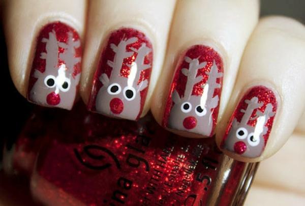 rote Gelnägel zu Weihnachten rote fingernägel motive hirsche