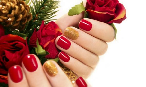 rote Gelnägel zu Weihnachten rote fingernägel motive satt