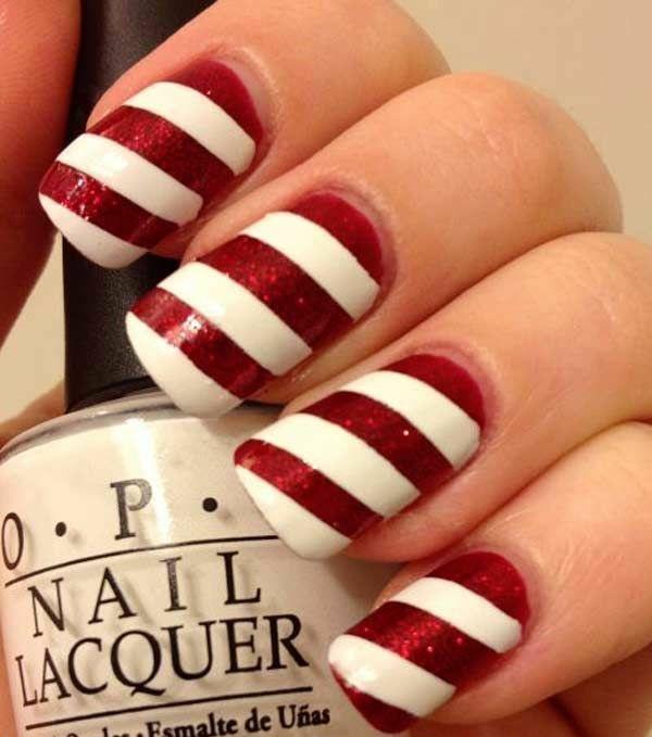 rote Gelnägel zu Weihnachten rote fingernägel motive schräge
