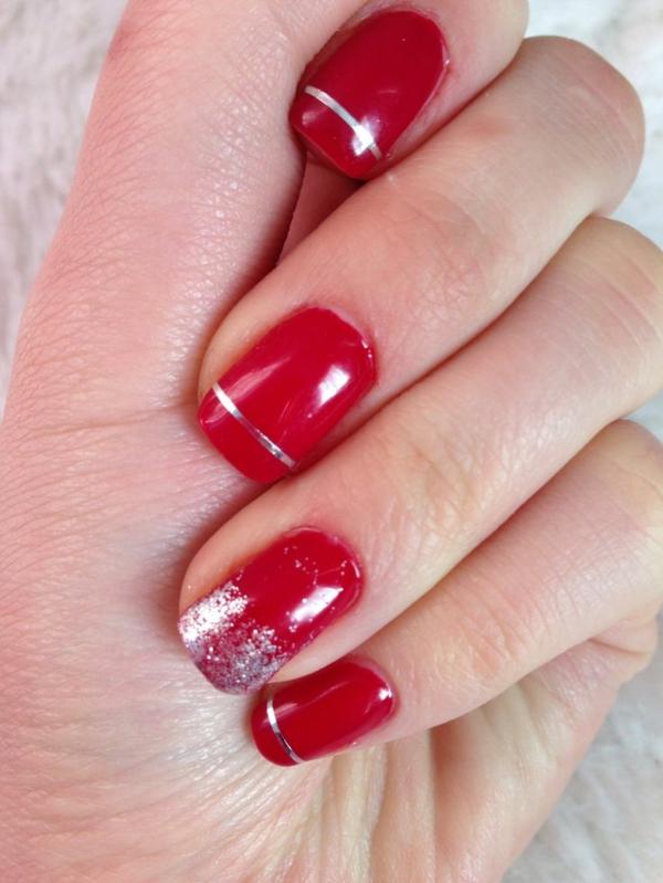rote Gelnägel zu Weihnachten rote fingernägel motive silber