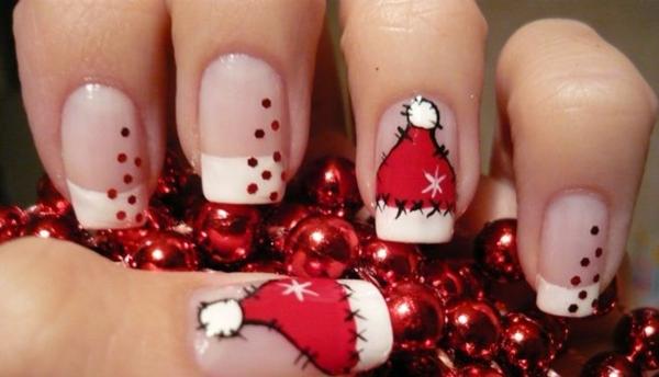 rote Gelnägel zu Weihnachten rote fingernägel motive winter