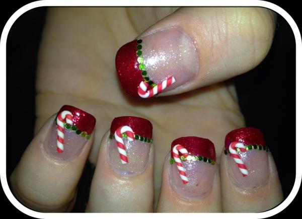 rote Gelnägel zu Weihnachten rote fingernägel motive zuckerstangen