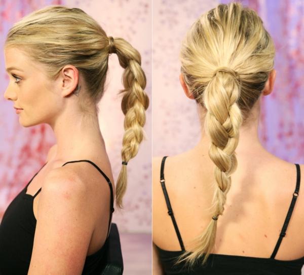 rundes gesicht frisuren pony tail pferdezopf blond