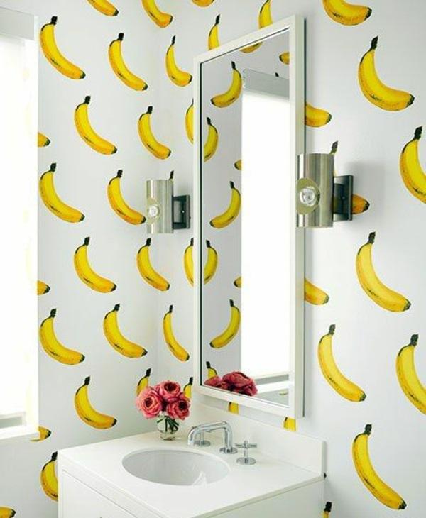 schöne tapeten bananen badezimmer