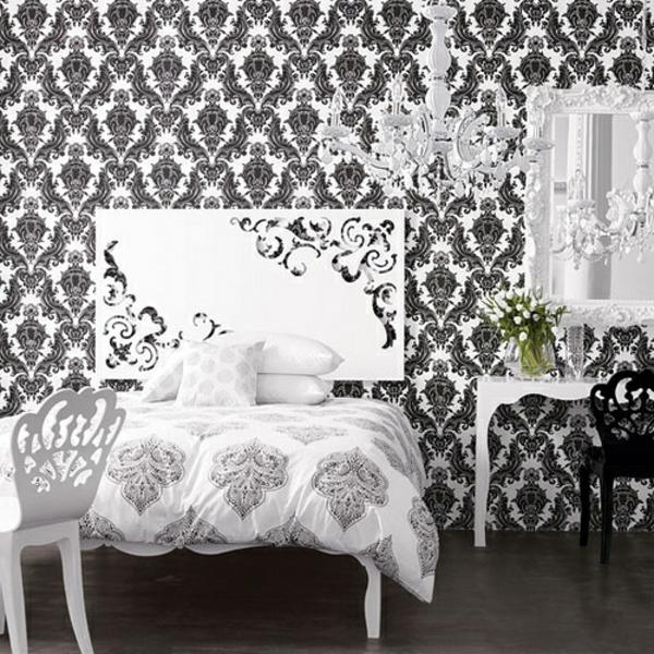 schöne tapeten klassisch muster schlafzimmer