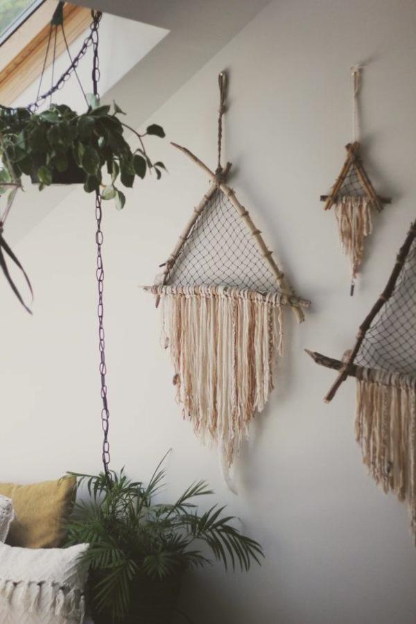 schöne zimmerpflanzen bilder blumenampel wanddekoration