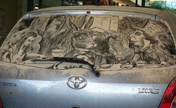 schmutzige autos kunst staub gemälde alice wonderland