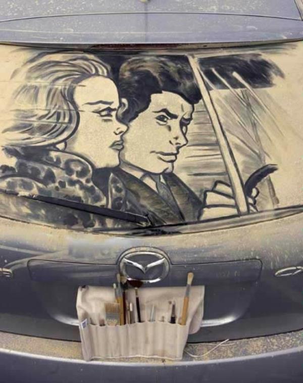 schmutzige autos kunst staub gemälde auto fahren