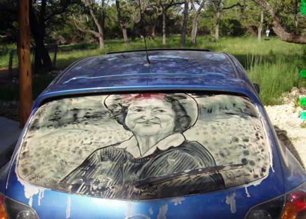 schmutzige autos kunst staub gemälde dame
