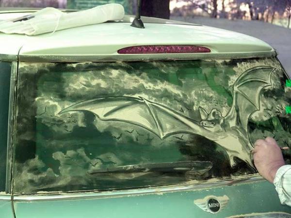 schmutzige autos kunst staub gemälde fledermaus
