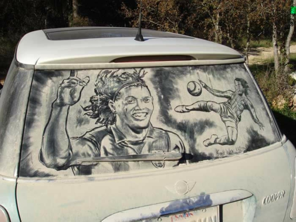schmutzige autos kunst staub gemälde fußballspieler