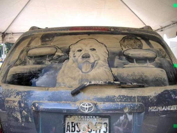 schmutzige autos kunst staub gemälde haustier