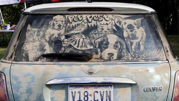 schmutzige autos kunst staub gemälde haustiere hund