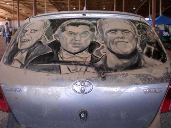 schmutzige autos kunst staub gemälde horror