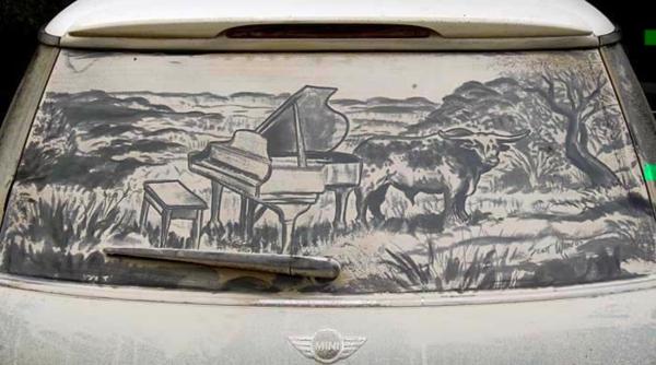 schmutzige autos kunst staub gemälde klavier natur