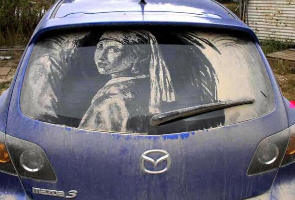 schmutzige autos kunst staub gemälde perlen ohrringe