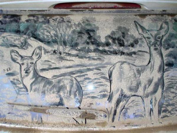 schmutzige autos kunst staub gemälde reh