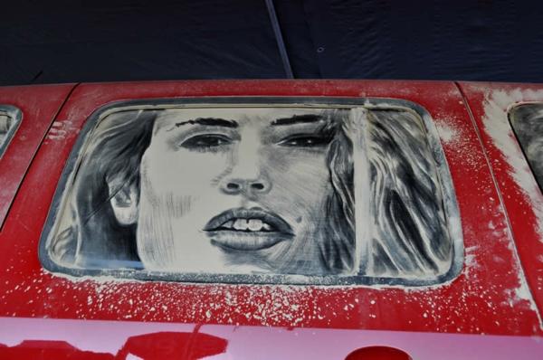 schmutzige autos kunst staub gemälde schön dame