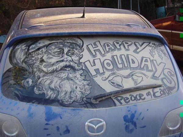 schmutzige autos kunst staub gemälde weihnachtsmann