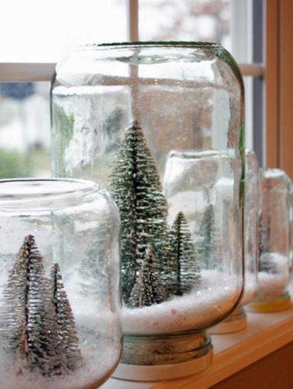 selbstgemachte geschenke schneekugel basteln tanne schnee