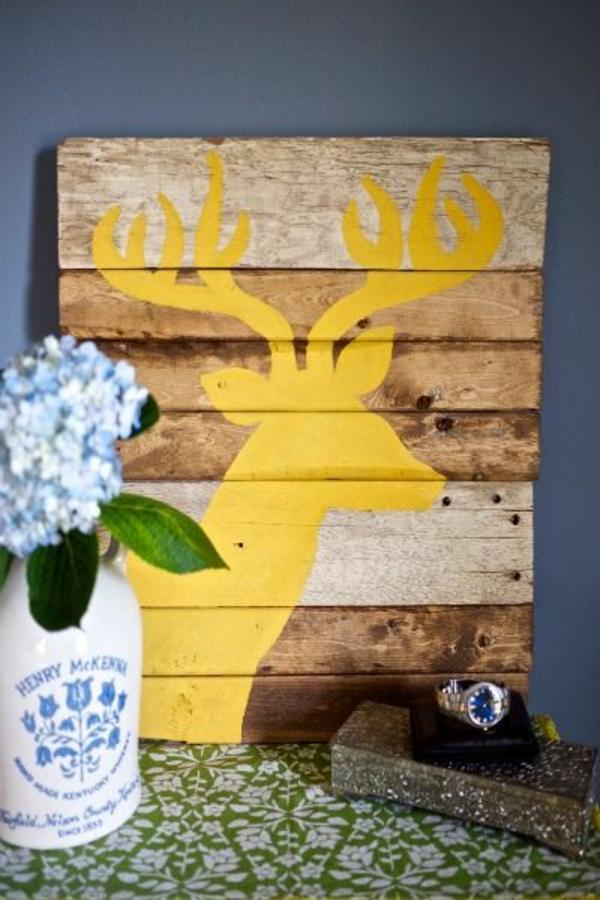 selbstgemachte geschenke weihnachten dekorativ hirsch gelb