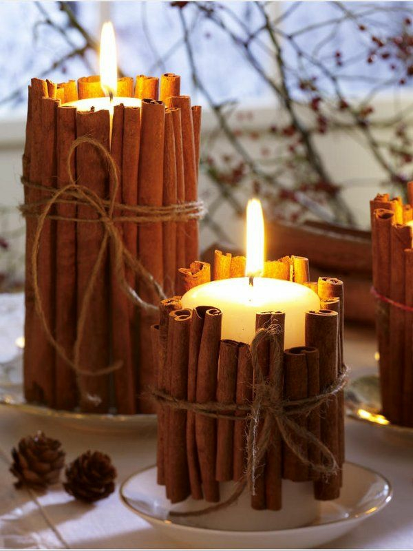 selbstgemachte weihnachtsgeschenke ideen zimtstangen stumpenkerzen