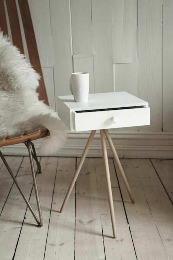 skandinavische möbel beistelltisch schublade weiß
