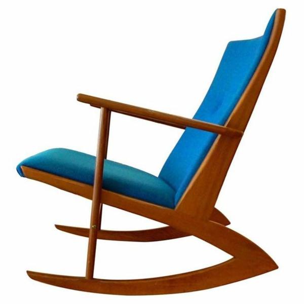 skandinavisches königsblau polsterung design möbel schaukelstuhl