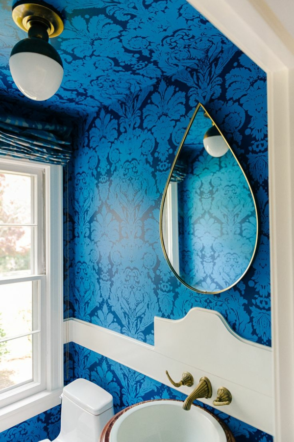 tapeten muster blau glanz wand spiegel