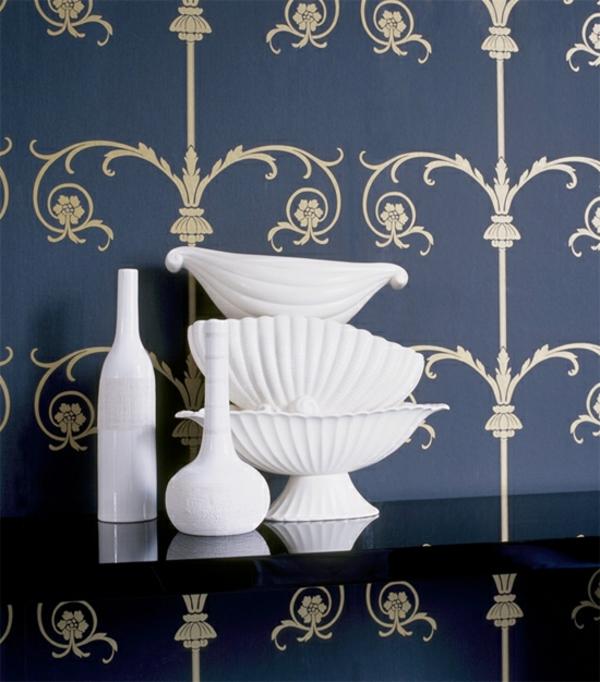 tapetenmuster golden muster blau schalen weiß